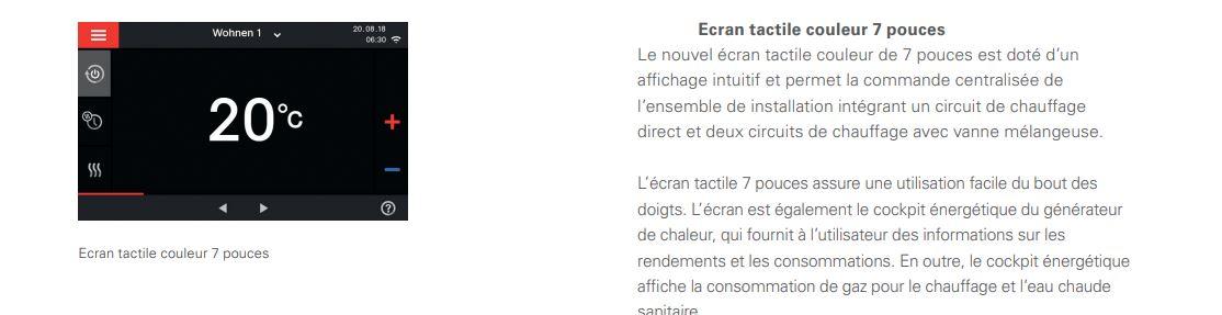 Ecran tactile Viessman Vitodens 222-W
