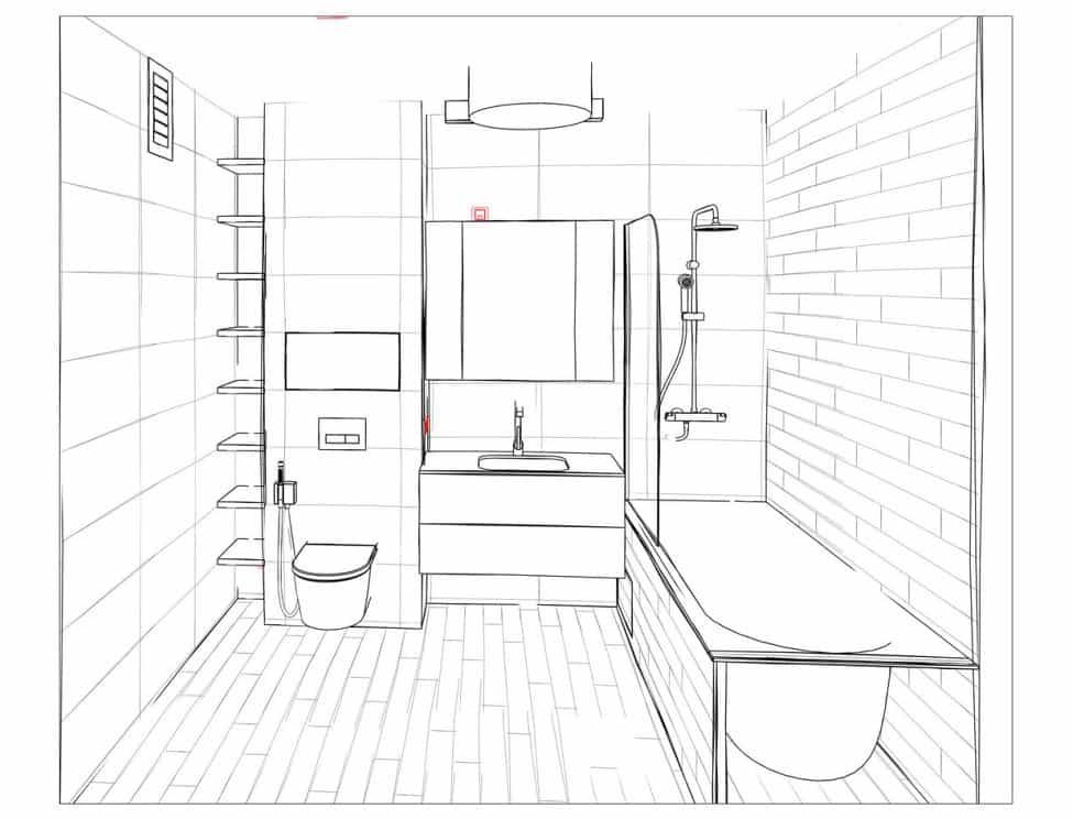 Dessin technique projet rénovation salle de bain Lyon image de perspective